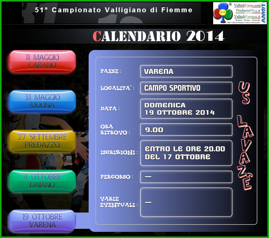 campionato valligiano 2014 varena calendario fiemme