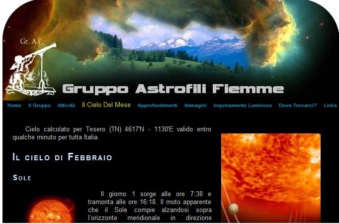 astrofili fiemme valle di fiemme Il cielo in febbraio