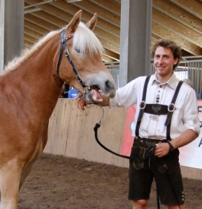 matteo e Piroska valledifiemmeit 289x300 Piroska, la cavalla di Ziano di Fiemme vince alla 74° Mostra Nazionale del Cavallo Haflinger