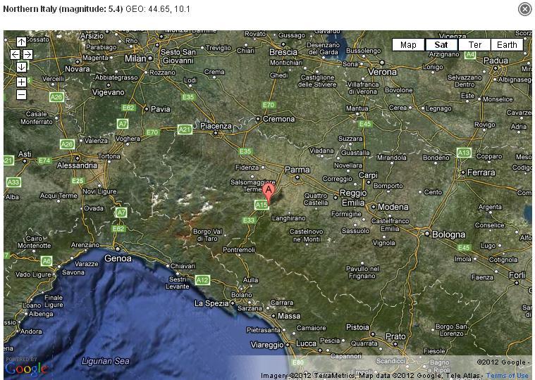 terremoto 27 gennaio 2012 ore 15.54 Terremoto 27 gennaio 2012  5.4 gradi Richter epicentro a Parma