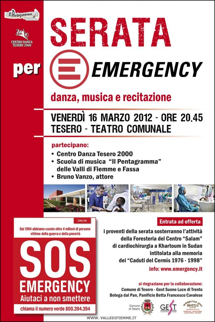 locandina emergency tesero valle di fiemme it 685x1024 Tesero, serata Emergency con danza, musica e recitazione