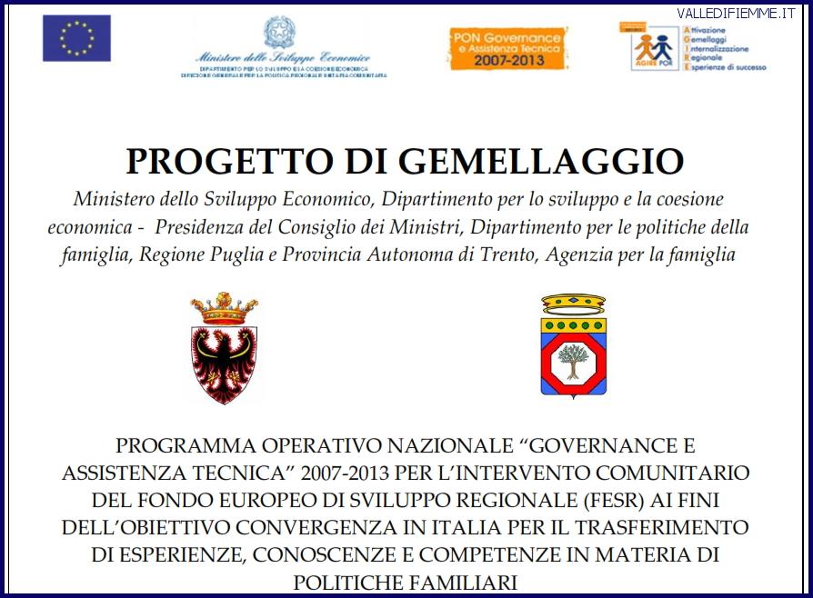 GEMELLAGGIO PROGETTO FAMIGLIA FIEMME Delegazione da Roma e Puglia in visita al Distretto famiglia della valle di Fiemme
