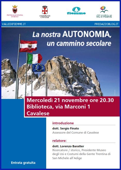 autonomia cavalese valle di fiemme Valle di Fiemme: Autonomia, un bene comune incontro con Gianfranco Cerea