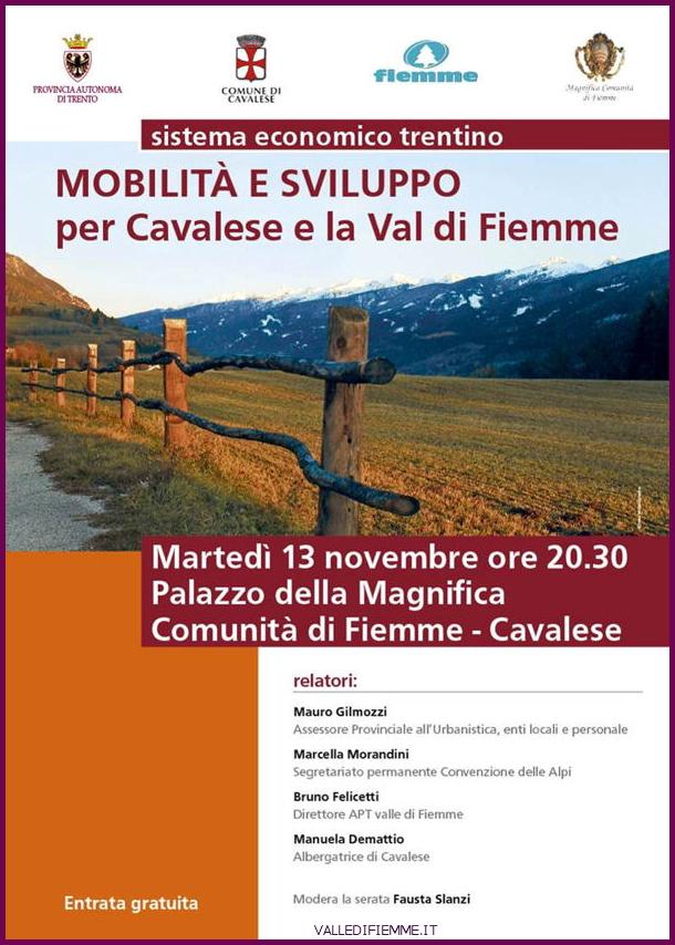 locandina mobilita e sviluppo fiemme Mobilità e sviluppo per Cavalese e la Val di Fiemme