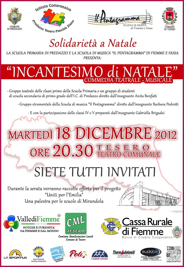 locandina incantesimo di natale valle di fiemme Fiemme per i terremotati: Incantesimo di Natale, commedia teatrale musicale di solidarietà