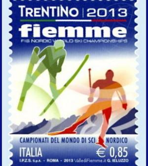 francobollo trentino fiemme 2013 mondiali sci valle di fiemme