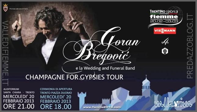 locandina concerto bregovic trento mondiali fiemme Bregovic, linno dei Mondiali di Fiemme si difende da solo. La prima live a Trento il 20 Febbraio 2013