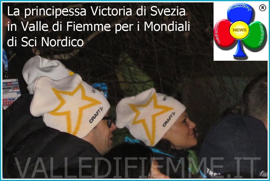 La principessa Victoria di Svezia e Daniel, principe di Svezia in valle di fiemme per i mondiali sci nordico
