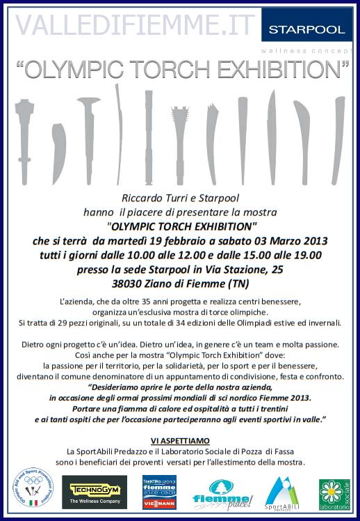 locandina olympic torch star pool fiemme 2013 Olimpic Torch Exhibition 29 fiaccole olimpiche in mostra presso la sede Starpool durante i Campionati Mondiali Fiemme 2013