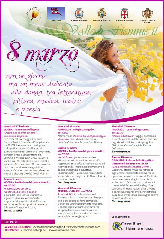 8 marzo mese dedicato alla donna in valle di fiemme 8 marzo, non un giorno ma un mese dedicato alla donna in Valle di Fiemme