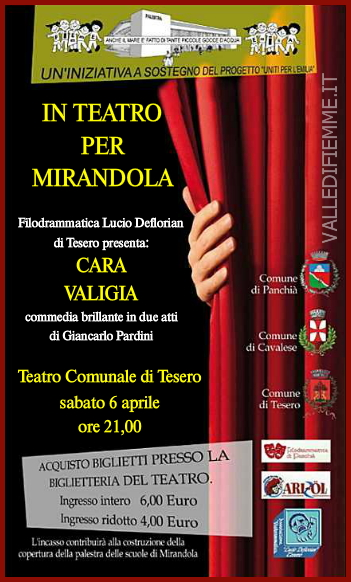 LOCANDINA TEATRO TESERO CARA VALIGIA In Teatro per Mirandola: Cara Valigia il 6 aprile a Tesero