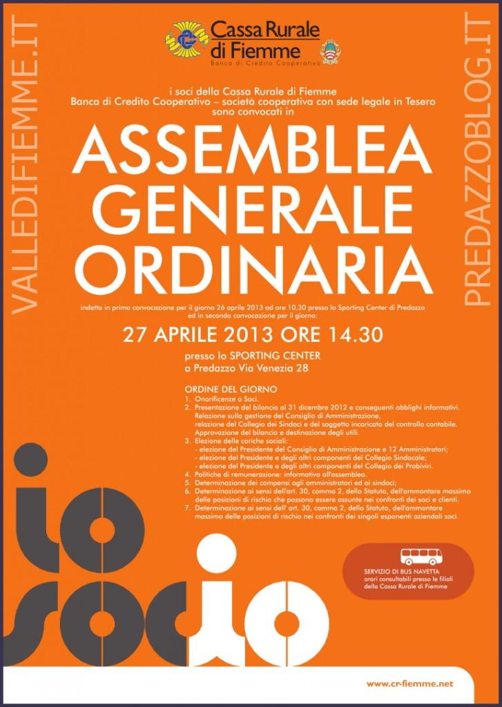 locandina assemblea generale ordinaria 27 aprile 2013 727x1024 Assemblea Generale Ordinaria della Cassa Rurale di Fiemme