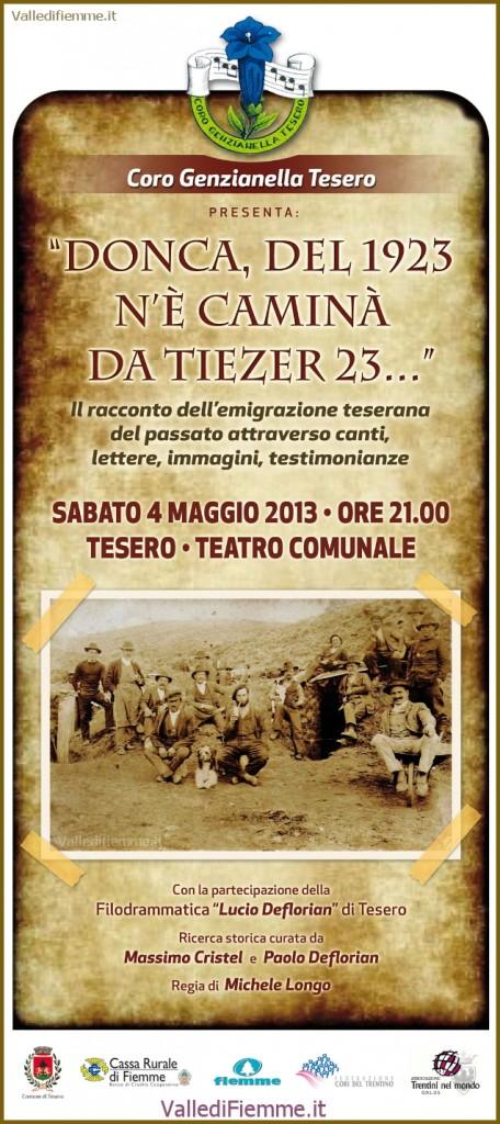 """locandina coro genzianella tesero donca del 23 456x1024 Il racconto dellemigrazione teserana """"Donca, del 1923 nè caminà da Tiezer 23..."""""""