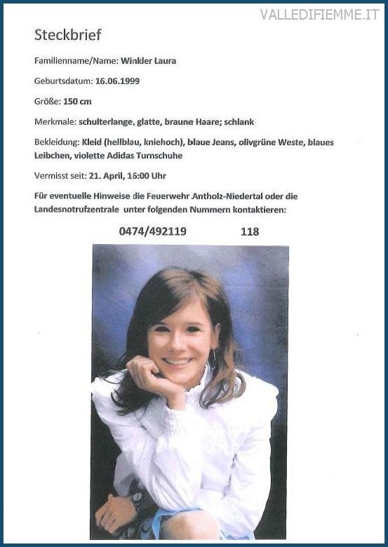 winkler laura ragazza scomparsa alto adige 14enne scomparsa ad Anterselva in Alto Adige