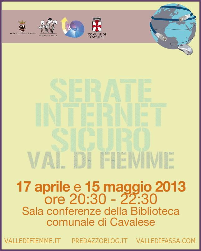 locandina internet sicuro cavalese fiemme Cavalese, Internet sicuro serata con Mauro Berti della Polizia Postale