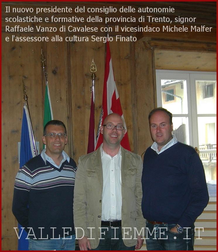 presidente autonomie scolastiche provincia trento cavalese fiemme Cavalese, saluto al Presidente del Consiglio Autonomie Scolastiche del Trentino