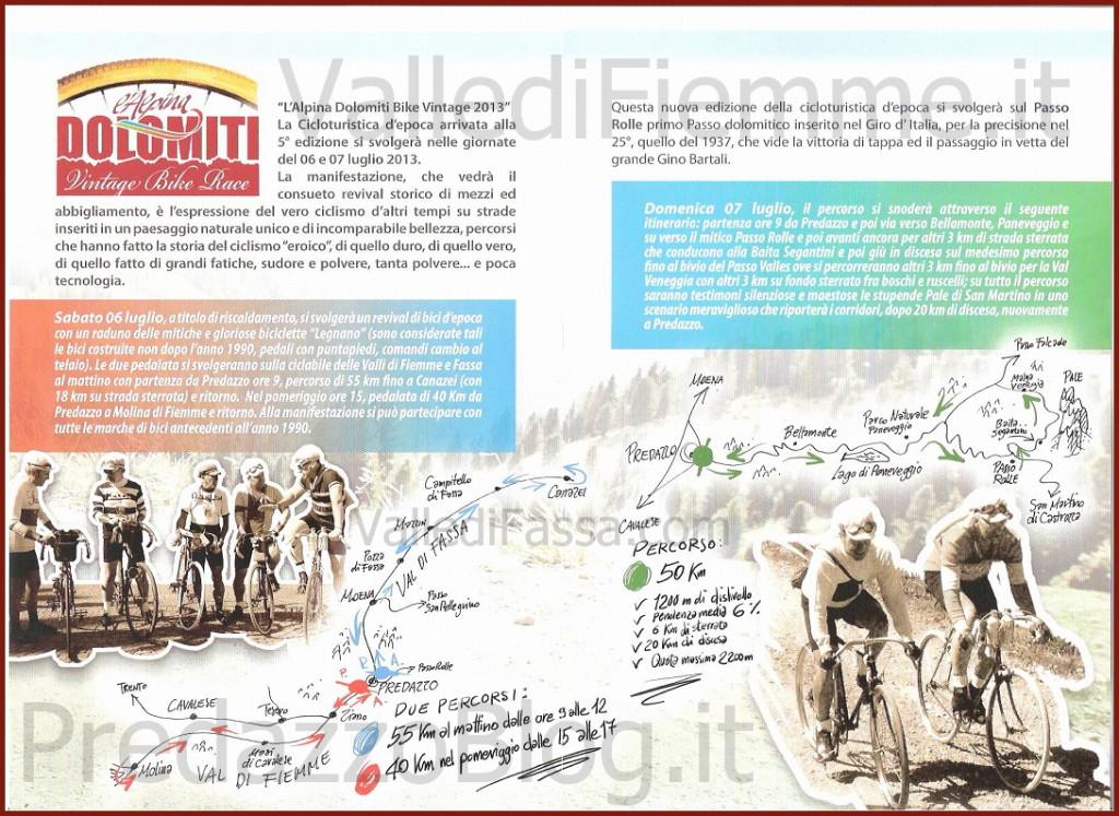 "dolomiti vintage bike race fiemme predazzo cartina 2013 1024x747 ""L'Alpina Dolomiti Bike Vintage 2013"" in Valle di Fiemme"