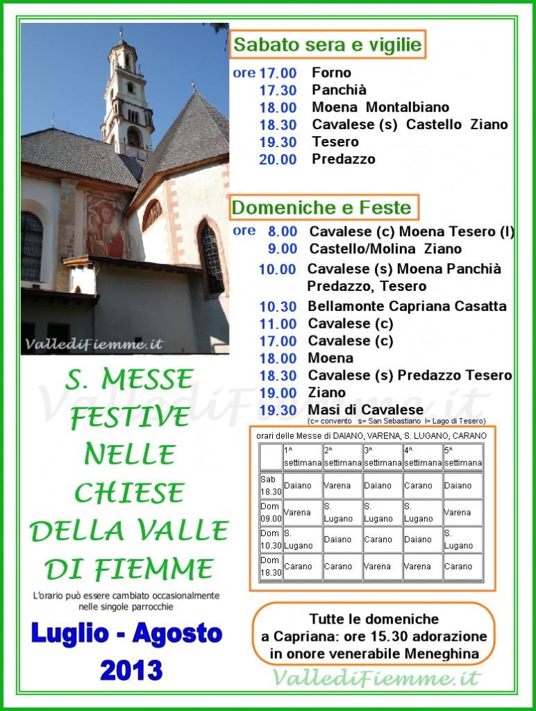 orari messe estate 2013 valle di fiemme1 772x1024 2 Parroci per 7 parrocchie in Valle di Fiemme   Orari Messe Estate 2013