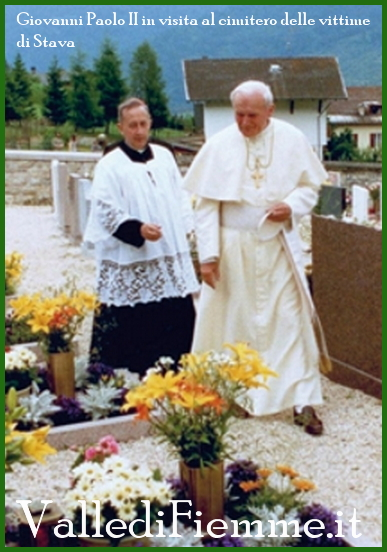 giovanni paolo II a tesero vittime stava fiemme 19 luglio 2013 anniversario della catastrofe di Stava