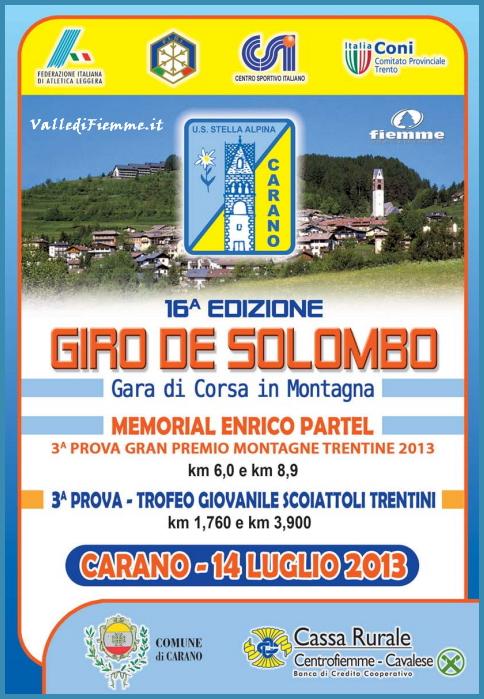 giro del solombo carano fiemme 2013 Carano, 16° Giro del Solombo   Gara di Corsa in Montagna