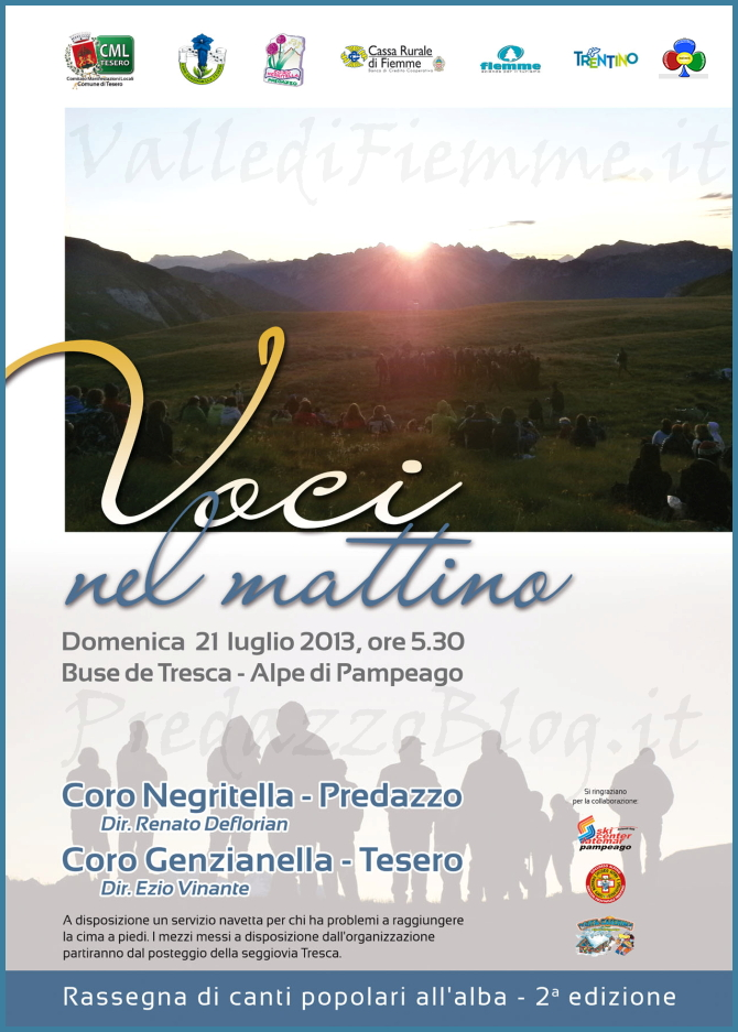 voci nel mattino concerto alba Voci nel mattino 2013 concerto allalba con i cori Genzianella e Negritella