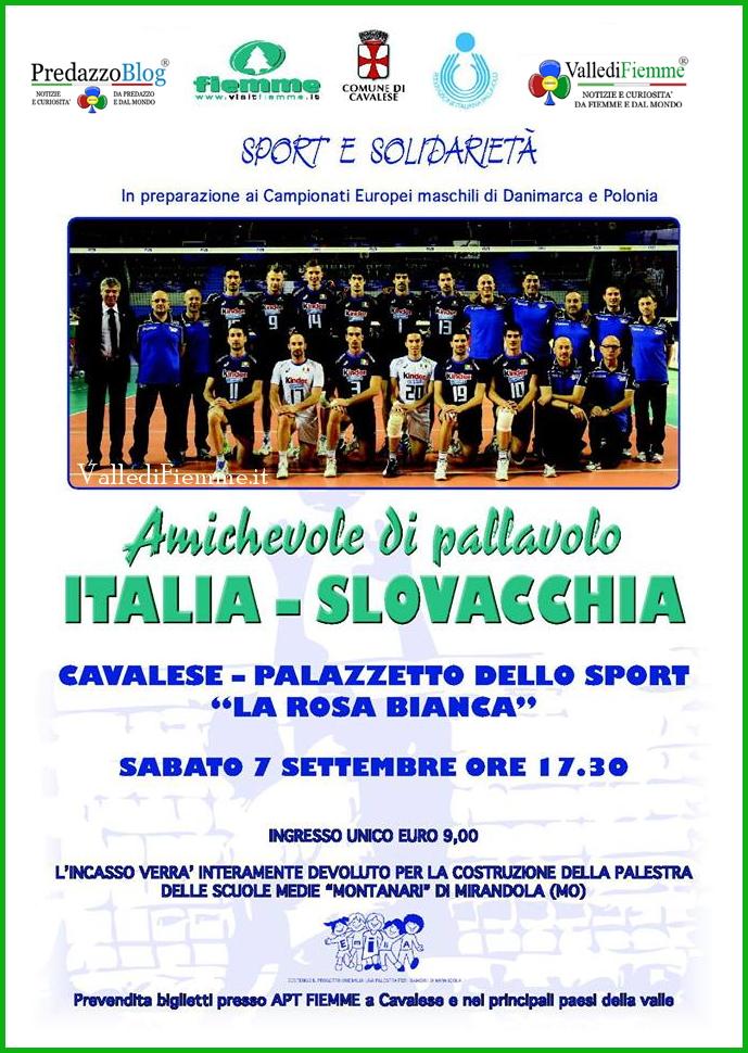 amichevole pallavolo italia slovacchia fiemme Cavalese, amichevole solidale di pallavolo: Italia   Slovacchia