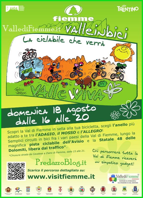 fiemme domenica 18 agosto ciclabile Fiemme Valle in Bici   18 agosto Prima Edizione