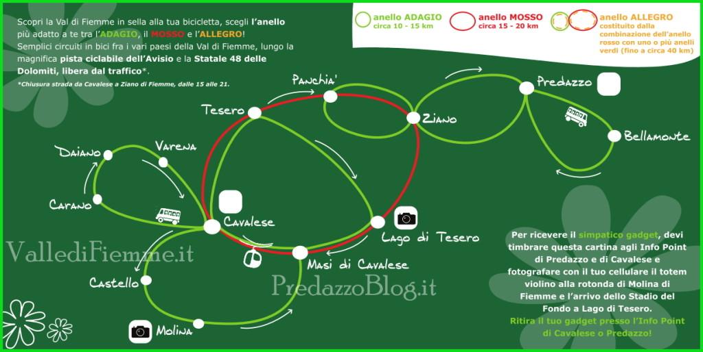 info ciclabile fiemme anelli 1024x514 Fiemme Valle in Bici   18 agosto Prima Edizione