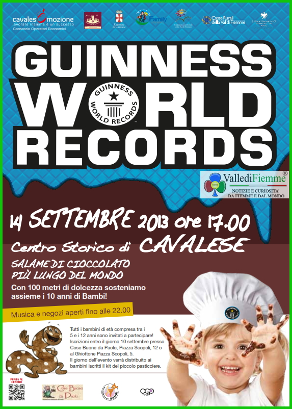 guinnes world records a cavalese fiemme 2013 Cavalese Guinness World Records di cioccolato