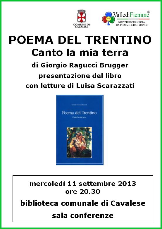 poema trentino cavalese Cavalese, presentazione del libro Poema del Trentino