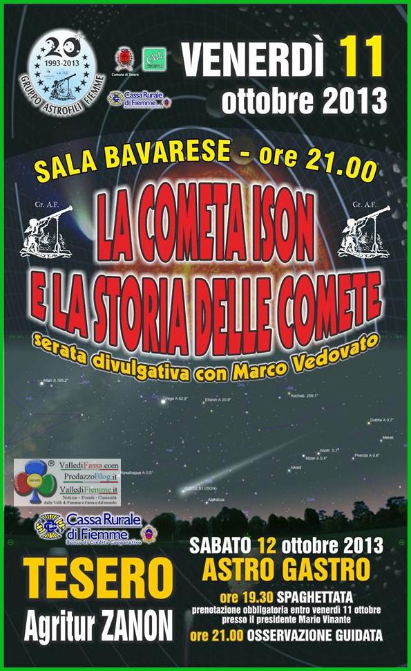 cometa ison serata astrofili fiemme Tesero, Conferenza sulla Cometa ISON (una cometa a Natale?)