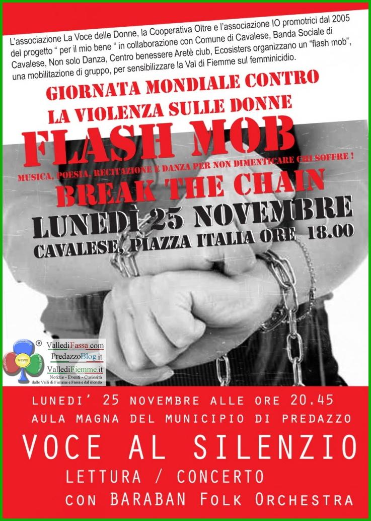 flash mob cavalese violenza donne Giornata mondiale contro la violenza sulle donne: Flash mob a Cavalese, lettura concerto a Predazzo
