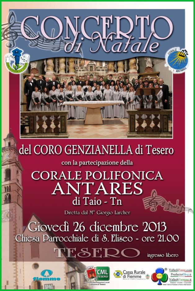 concerto genzianella tesero corale antares Tesero, Concerto di Natale con il Coro Genzianella e Corale di Taio
