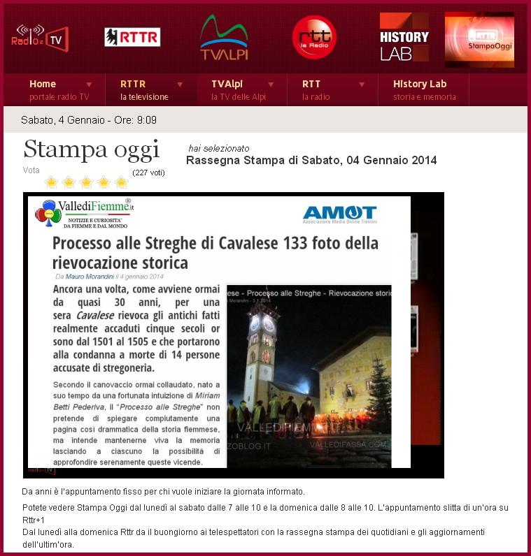 prima uscita stampa oggi rttr valle di fiemme it bis VallediFiemme.it da oggi in rassegna stampa su RTTR con AMOT