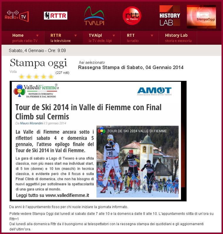 prima uscita stampa oggi rttr valle di fiemme it VallediFiemme.it da oggi in rassegna stampa su RTTR con AMOT
