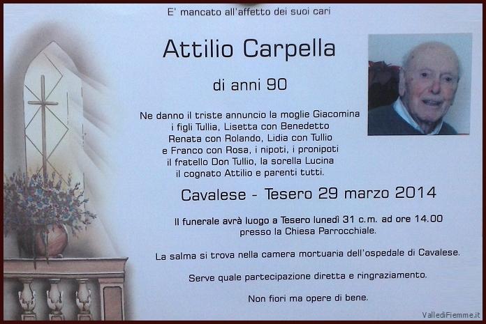 carpella attilio tesero La Gioia del Vangelo con mons. Lauro Tisi   Necrologio Attilio Carpella