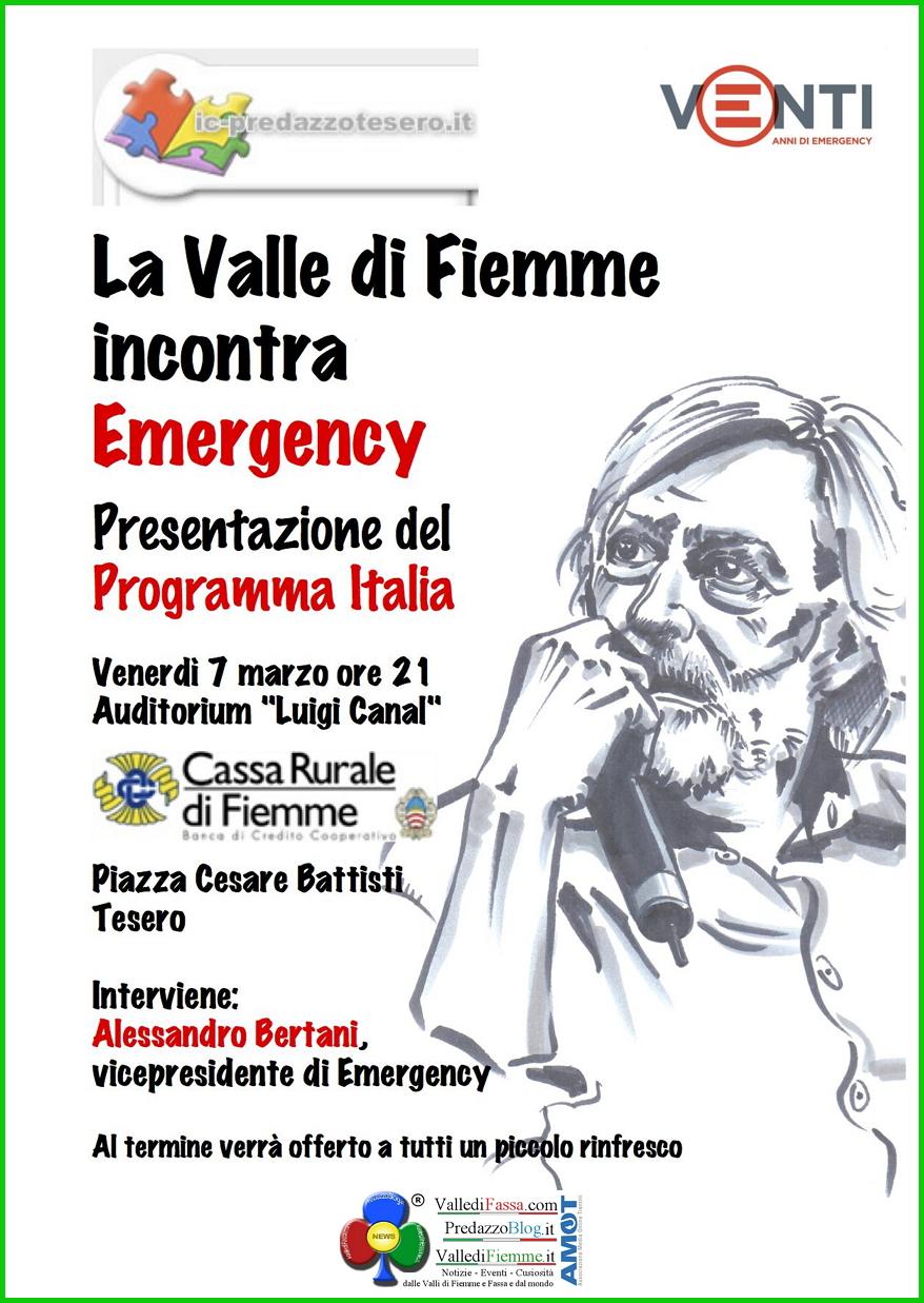 emergency fiemme tesero Emergency, due nuovi appuntamenti in Valle di Fiemme