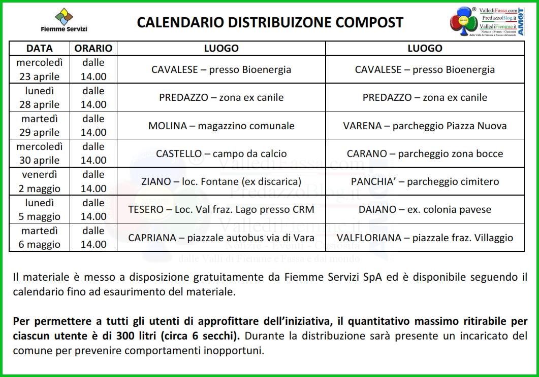 calendario distribuzione compost fiemme 2014 Distribuzione gratuita di Compost in Valle di Fiemme