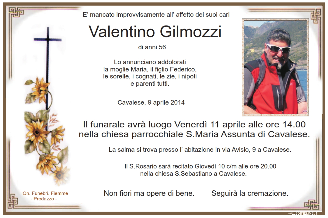 valentino gilmozzi1 Cavalese, necrologio Valentino Gilmozzi