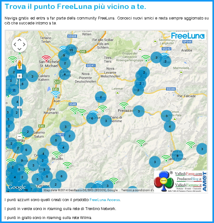 Free Luna Trentino Network cartina trentino Guida alla connessione gratuita FreeLuna di Trentino Network
