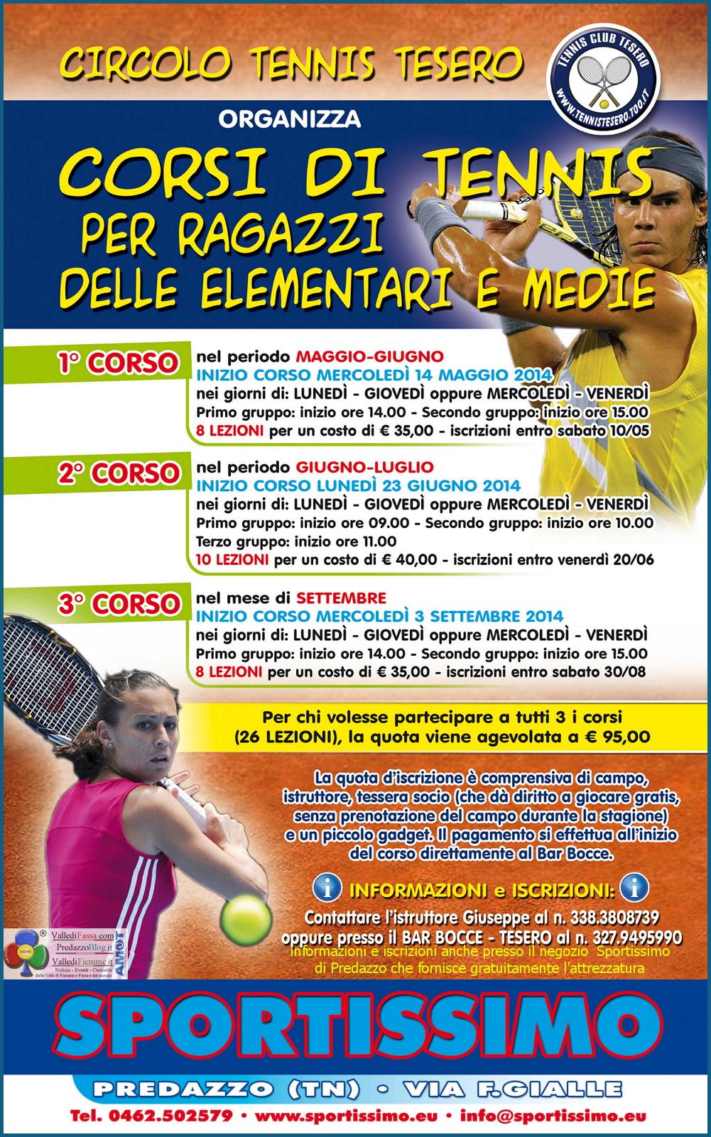 VOLANTINO CORSI TENNIS TESERO 2014 fiemme Imparare il Tennis in Valle di Fiemme