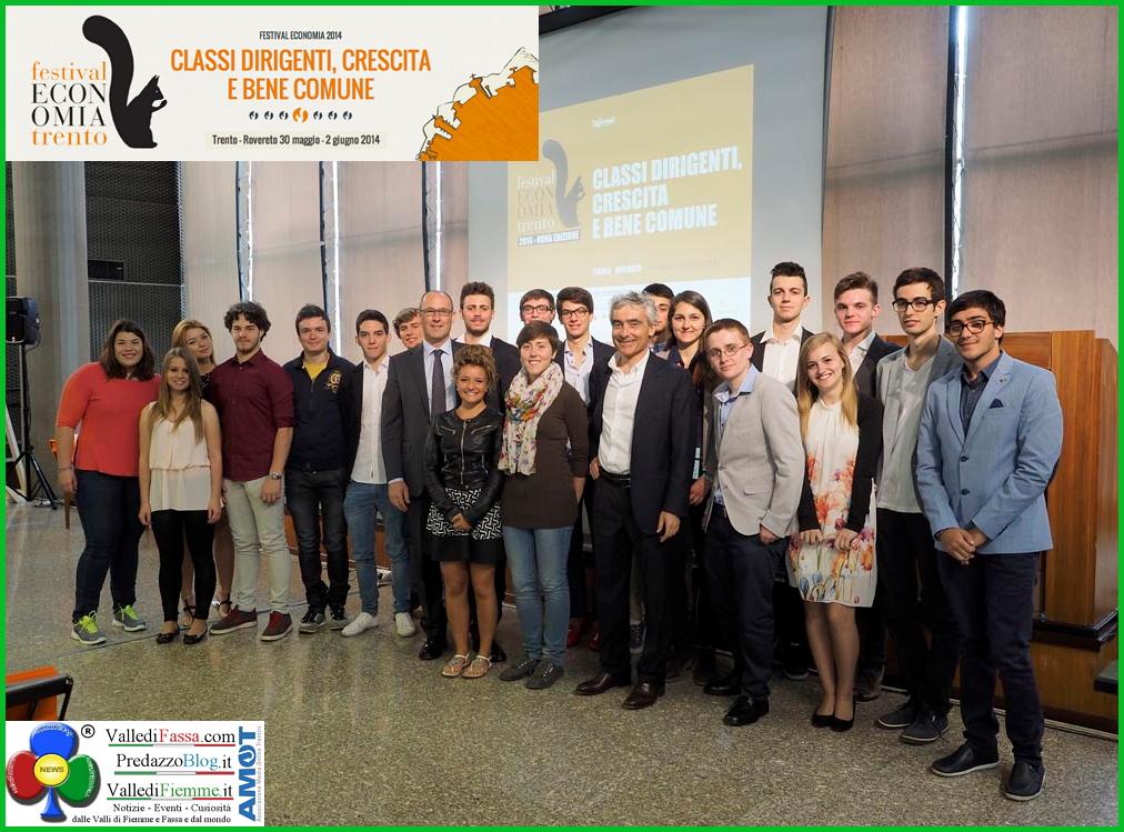 foto di gruppo giovani festival economia trento Adriano Fontanari di Ziano premiato al Concorso EconoMia di Trento