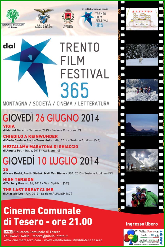 trento film festival Trento Film Festival, proiezioni a Tesero