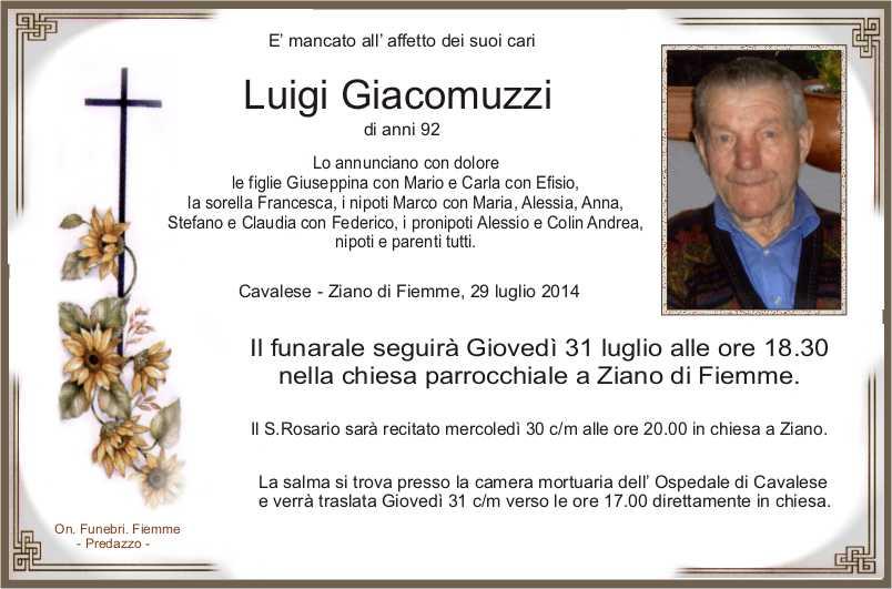 Giacomuzzi Luigi Ziano di Fiemme, necrologio Luigi Giacomuzzi