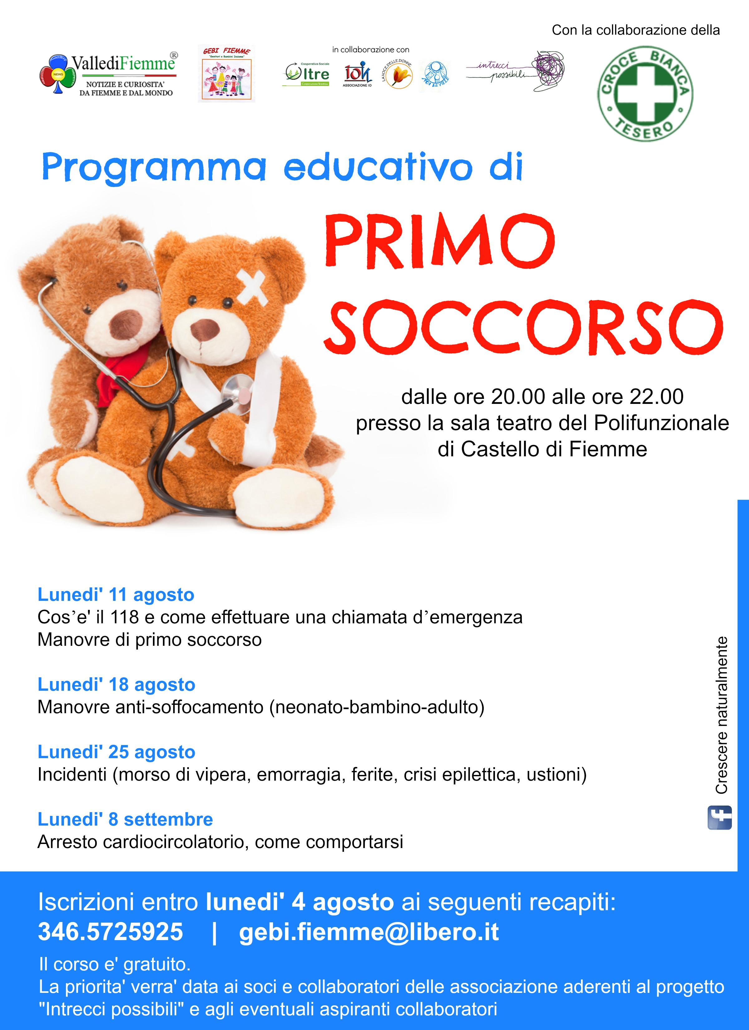 primo soccorso locandina Programma educativo di primo soccorso