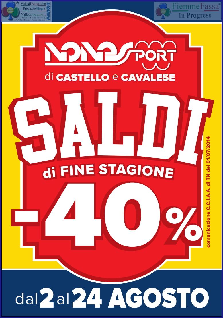 nones sport castello saldi agosto 2014 Nones Sport inizia i Saldi di Fine Stagione   dal 2 al 24 agosto