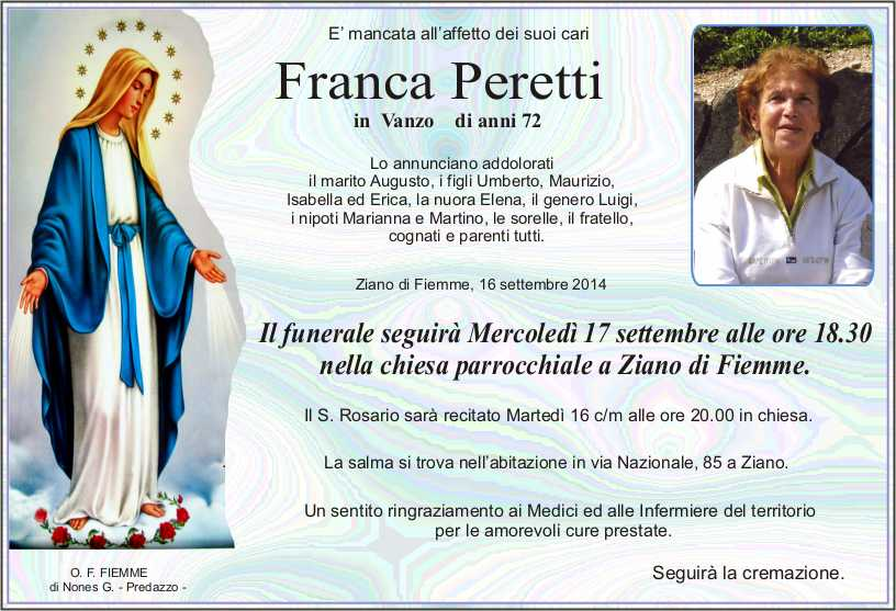 Peretti Franca Ziano, necrologio Franca Peretti