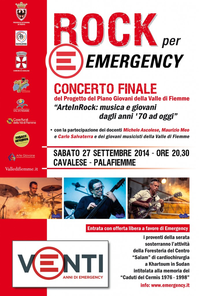 emergency rock web 696x1024 Rock for Emergency   Serata finale al Palafiemme