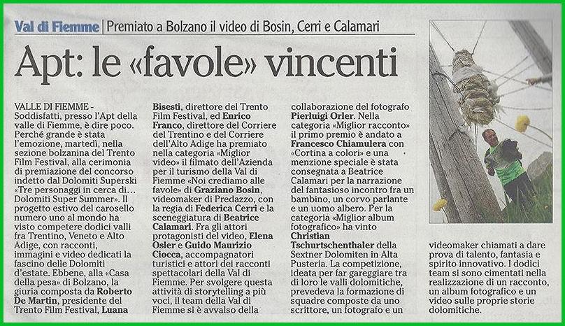 crediamo nelle favole premio a fiemme 1 La Valle di Fiemme vince il Concorso Dolomiti Supersummer per il miglior video