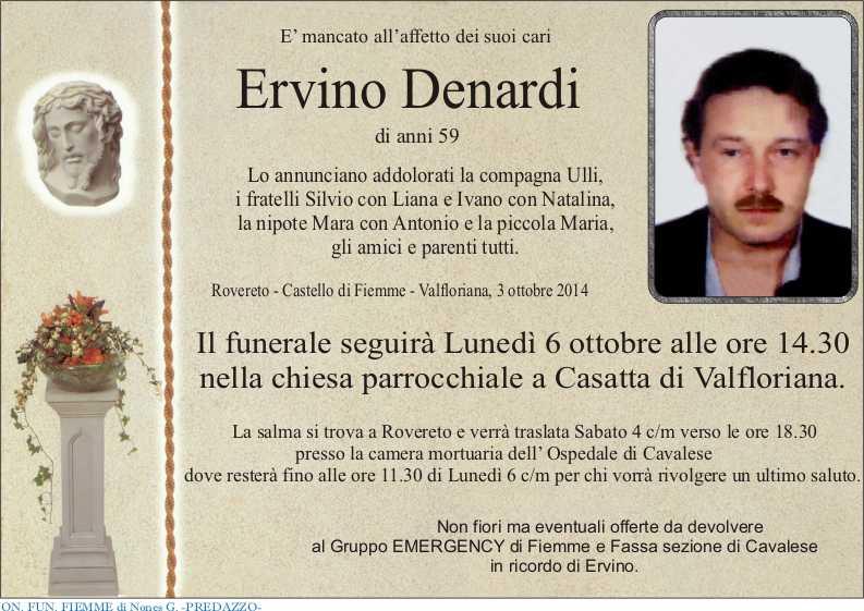 necro Denardi Ervino Casatta, necrologio Ervino Denardi